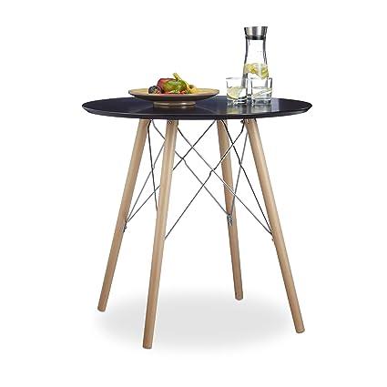 Relaxdays Küchentisch klein ARVID 72 x 75 x 75 cm HxBxT, Esstisch f. kleine  Küche, Holztisch nordischer Stil, schwarz