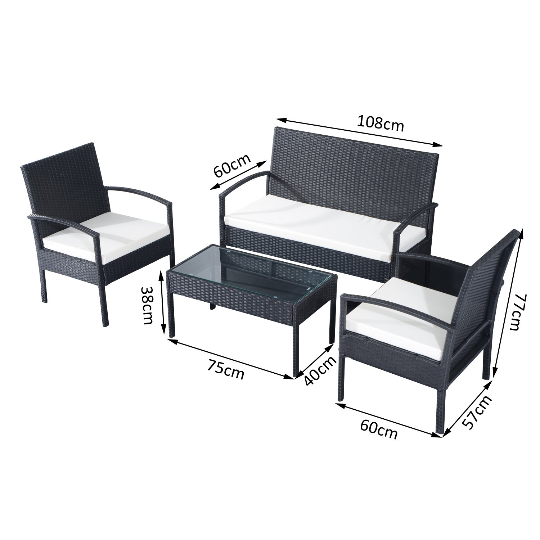 2 fauteuils et Table Basse Plateau Verre trempé résine tressée 4 ...