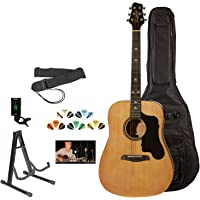 Sawtooth ST-ADN-KIT-3 Acoustic Guitar with Black Pickguard-Includes Accessories, Gig Bag and Online Lesson