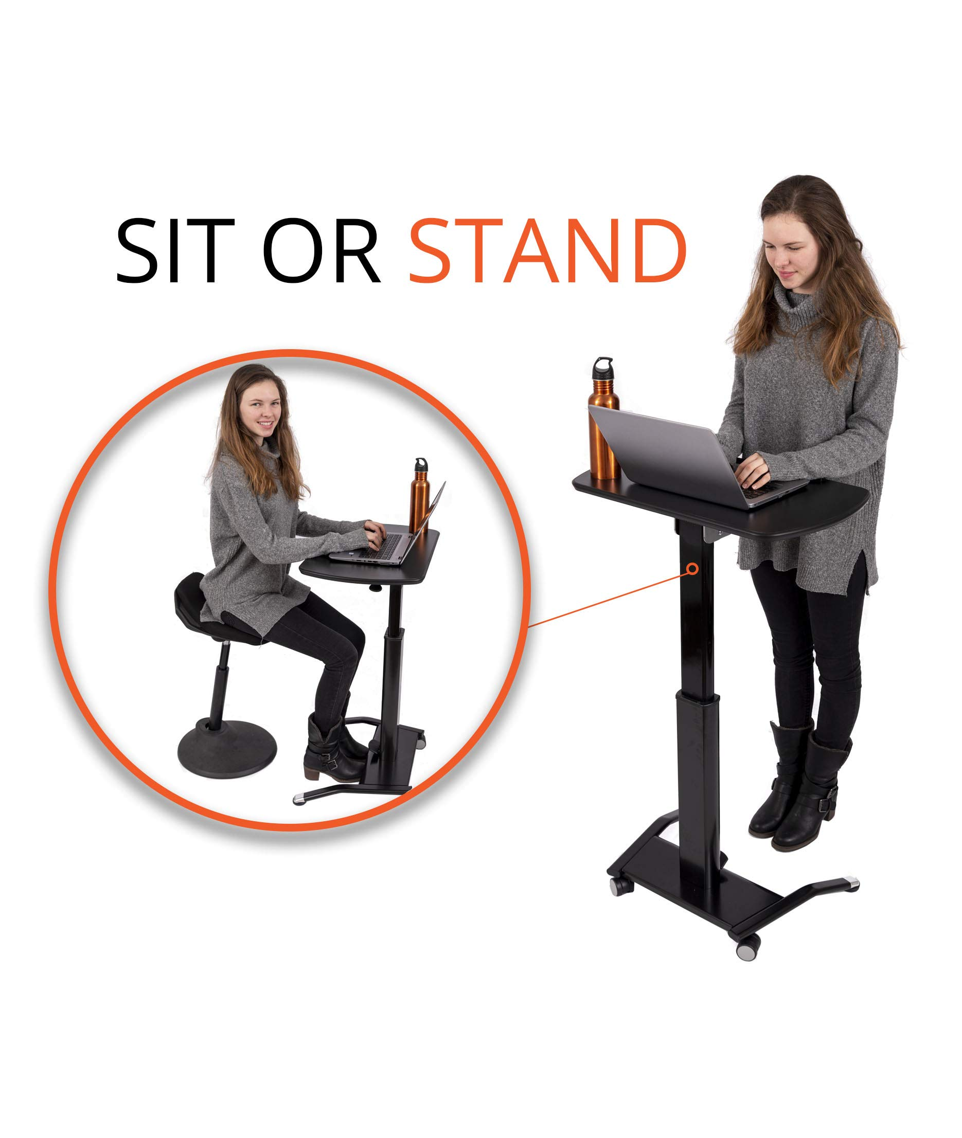 Pneumatic Adjustable-Height Lectern (Black) by Stand Up Desk Store (Image #4)