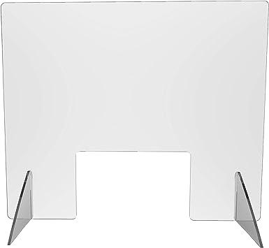 B1 - DIN 4102 Kunststoffglas - Lebensmittelecht - Spuckschutz Thekenaufsatz 49 cm hoch Niesschutz und Hustenschutz - Praxis und Apotheke 49x58 cm Schwer entflammbar
