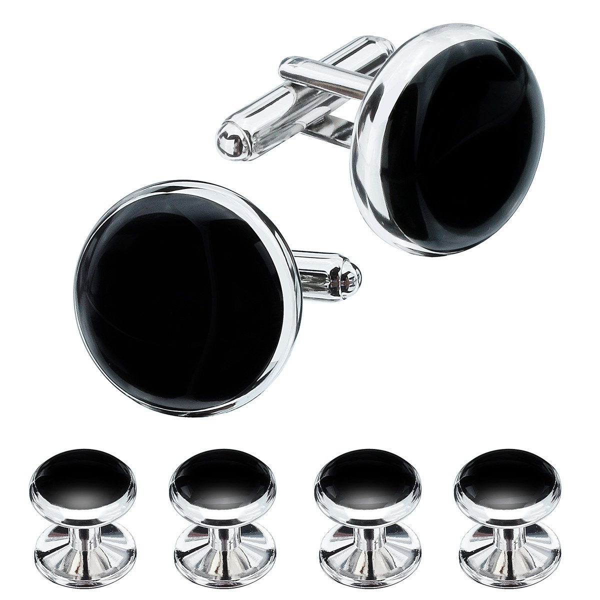 Classic Rhodium Plated with Black Enamel Man French Shirt Tuxedo Cuff Links and Studs Set 400151
