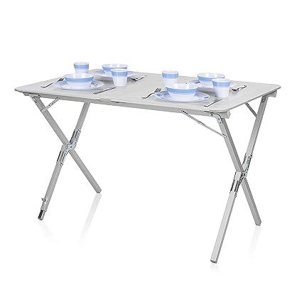Campingtisch Amazon.Campart Campingtisch Reisetisch 110x70 Cm Wetterbeständige Rolltischfläche Aus Aluminium Mit Mitgelieferte Transporttasche Ta 0802