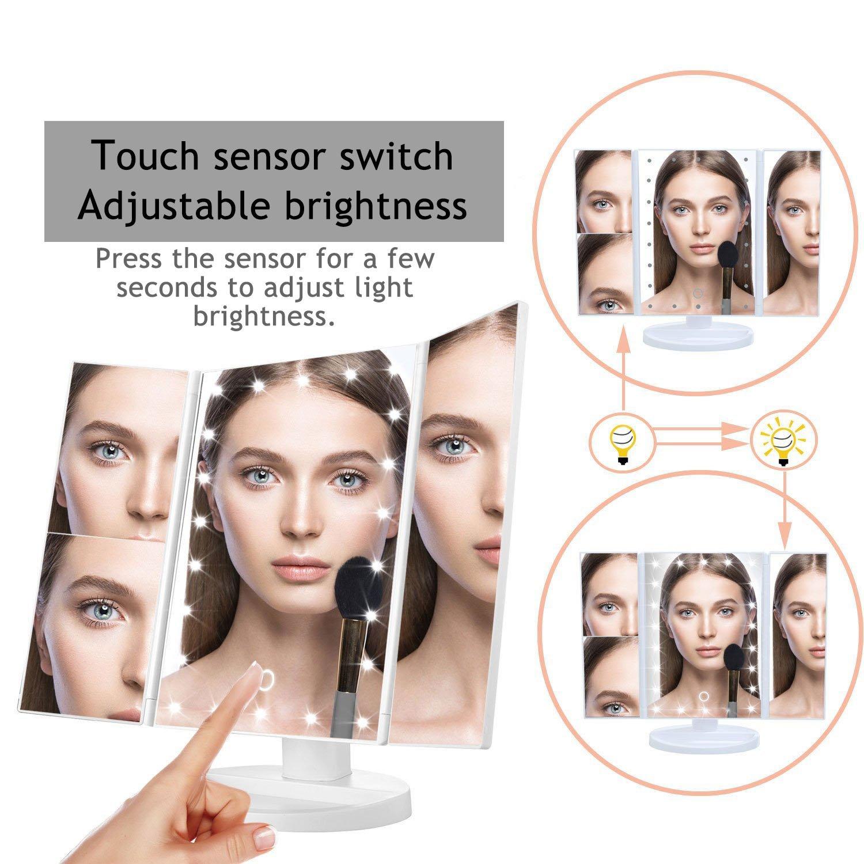 Espejo de Maquillaje,Carga USB,Triple-plegable con 22 LEDs Naturales,Ajustable 180 ° Iluminador Plegable Cosmético Maquillaje,Aumentos 1x, 2x, 3x,10x (Blanco)