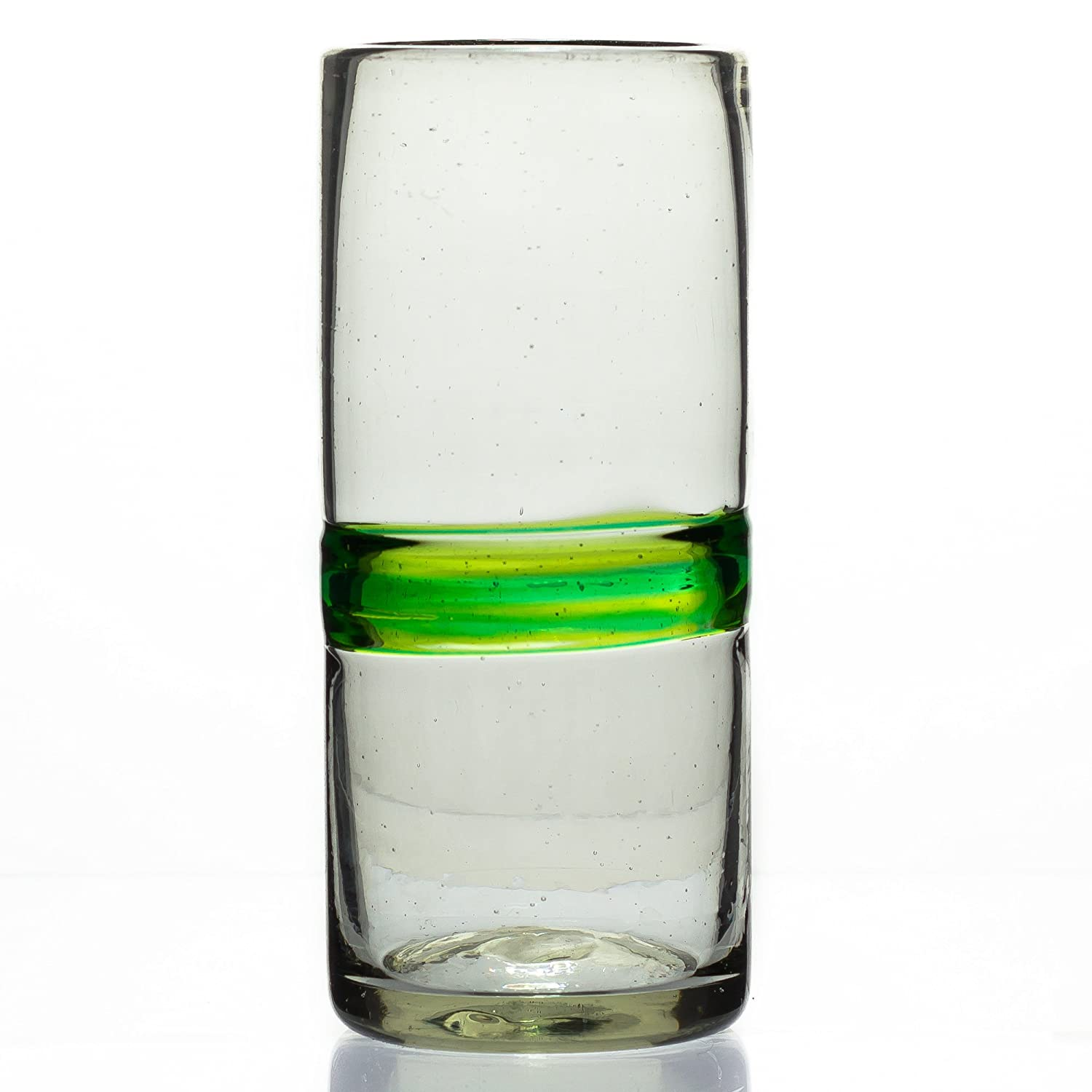 Hi ball glass, blended green, hand blown from recycled glass - fair trade and handmade in Mexico Tumia Latin American Crafts