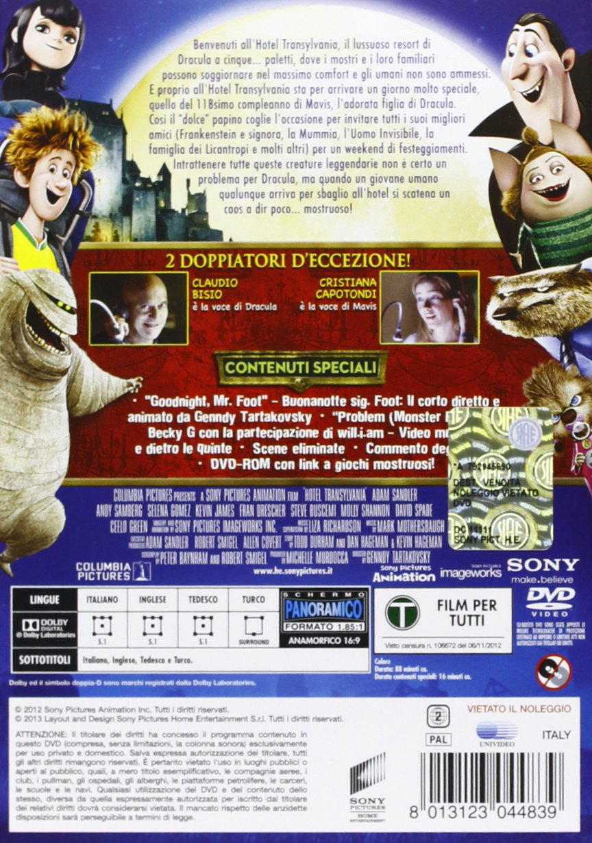 Hotel Transylvania (slim case) [Italia] [DVD]: Amazon.es: Peter ...