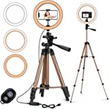 PEYOU 10' Selfie Ring Light with 50'' Extendable Tripod Stand & Phone Holder, LED Ring Light for Live Stream, Makeup…
