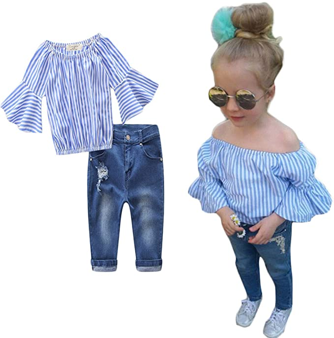 632ebdcf4285 BANGELY Kids Girls Striped Off-Shoulder Tops and Hole Denim Pants Outfits