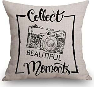"""SSOIU Motivational Quote Throw Pillow Cover, Collect Beautiful Moments with Retro Camera Decorative Throw Pillow Covers Cotton Linen Pillow Cases 18"""" x 18"""" for Home Decor"""