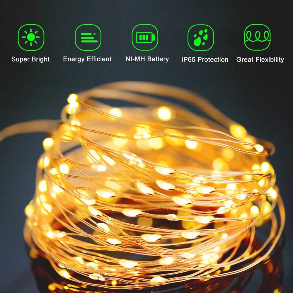 Mehrfarbig Lichterkette au/ßen f/ür Party Weihnachten Solarbetriebene IP65 Wasserdichte Lichterkette Fest Deko usw 20 LED Solar Lichterkette Warmwei/ß goodjinHH 2M Solar Kupferdraht Lichterkette