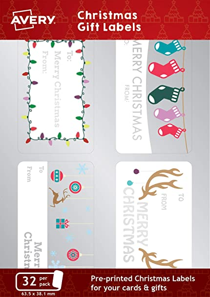 Avery Christmas Labels.Amazon Com Avery Accgl01 Christmas Gift Present Labels