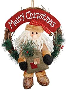 Christmas Wreath 14 Inch Santa Front Door Wreaths Small Christmas Decorations Home Decor