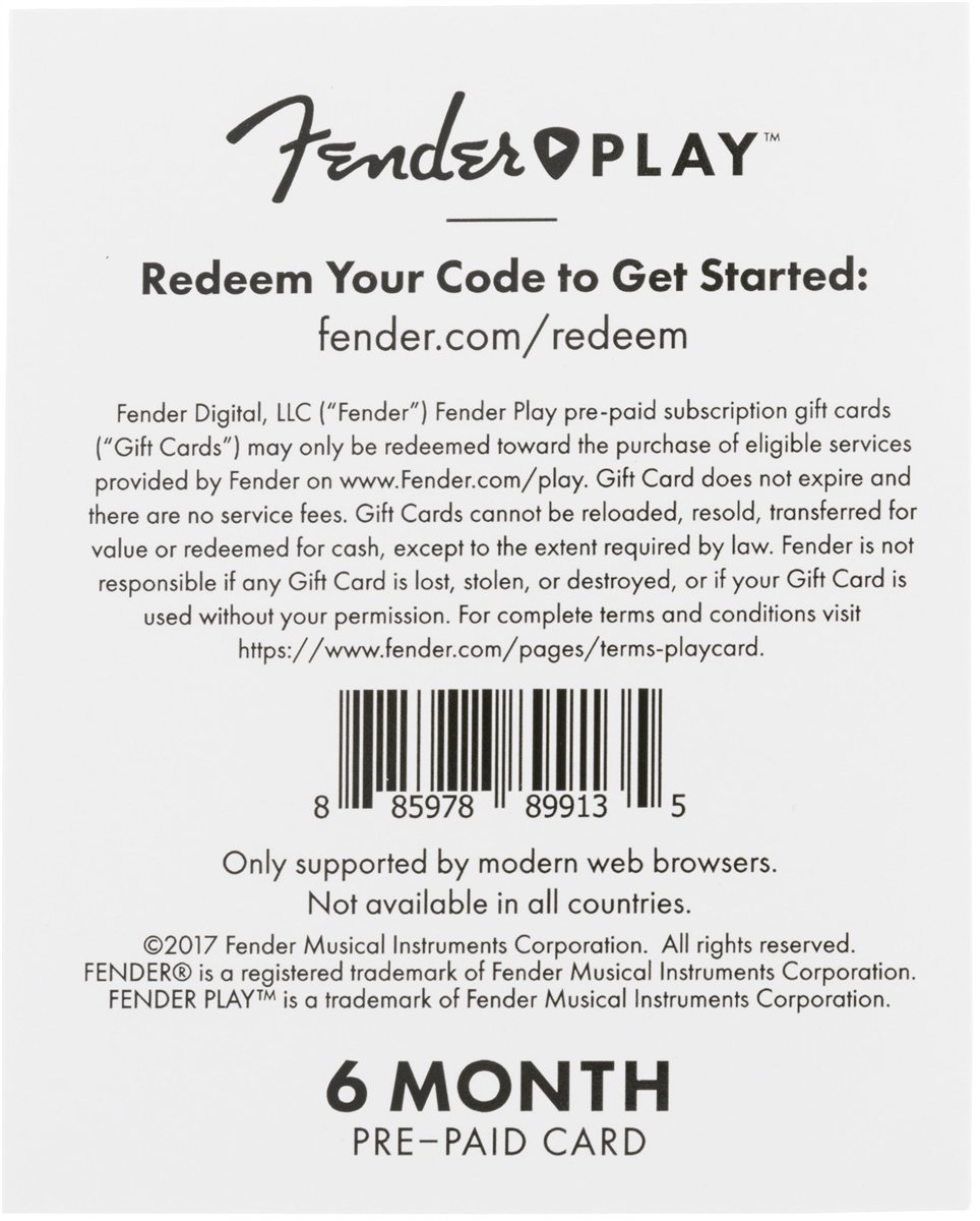 Amazon fender play instructional learn to play guitar amazon fender play instructional learn to play guitar lesson platform for beginners 6 month prepaid gift card musical instruments hexwebz Images