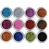 Coscelia 12 Couleur Foncé Paillettes Nail Art Tips Acrylique UV Poudre Poussière Stamper
