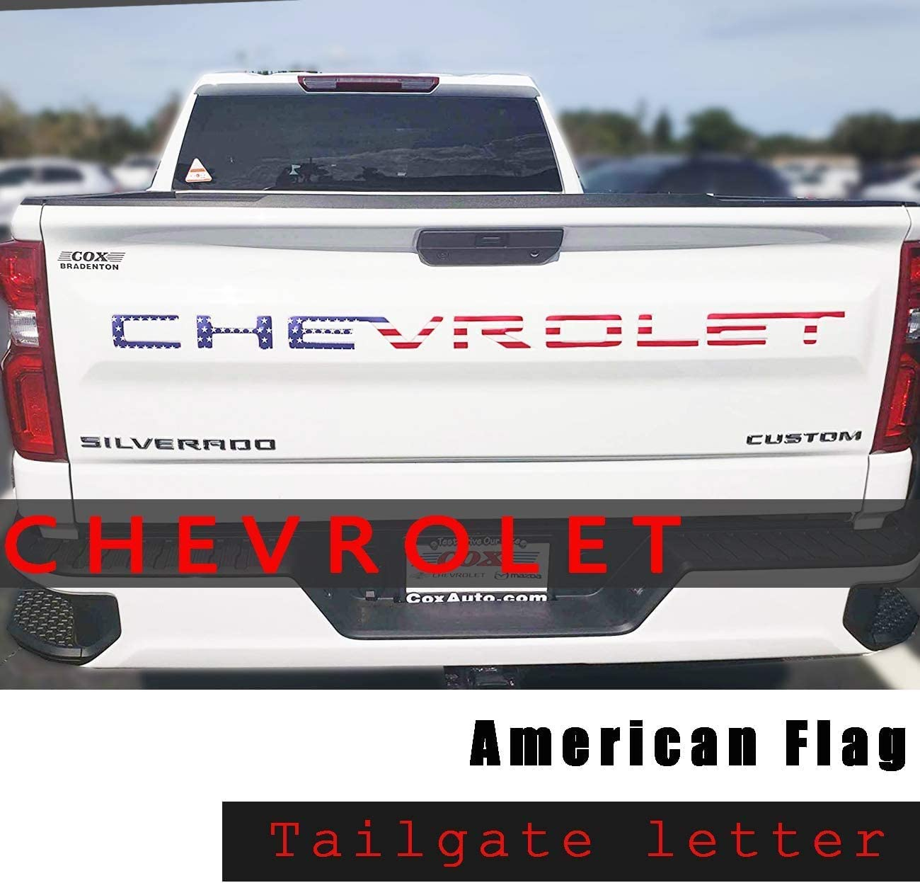 White 3M Adhesive /& 3D Raised Tailgate Letters for 2019 2020 Chevr Silverado Accessories Funsport Tailgate Insert Letters