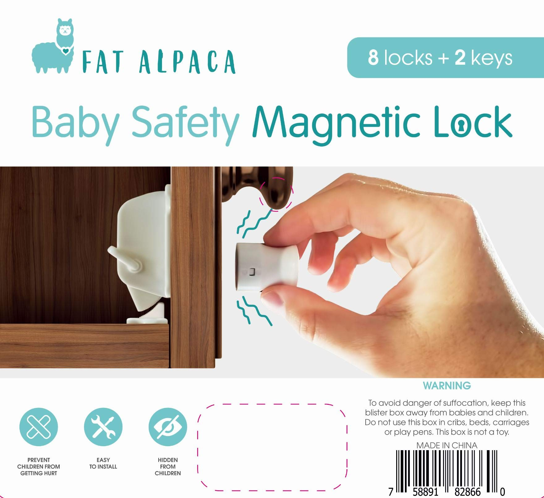 Large Magnetic Baby Safety Locks by Fat Alpaca - 8 Locks + 2 Keys - Kitchen and Bathroom Cabinet Door and Drawer Locks for Small Children and Toddlers - Strong Adhesive Tape and Installation Guide