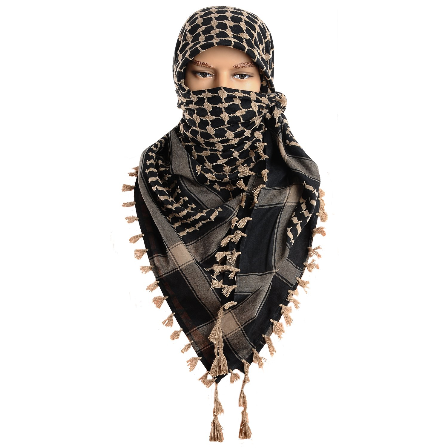 Micoop Large Size Premium Shemagh Scarf Arab Military Tactical Desert Scarf Wrap(48 by 48 inches) (Black Light Brown) by Micoop
