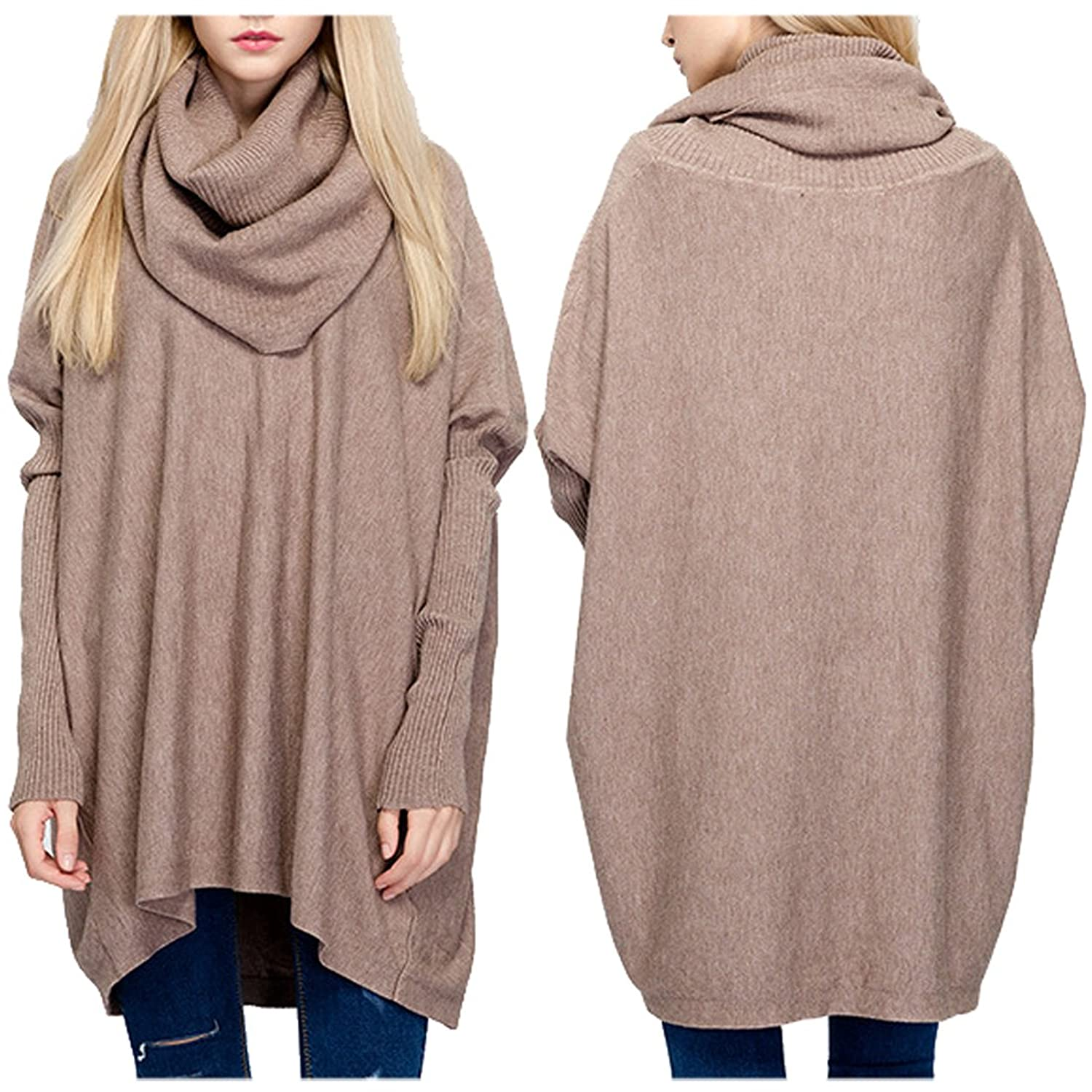 Partiss Women's Turtleneck Maxi Solid Hooded Sweater Blouse