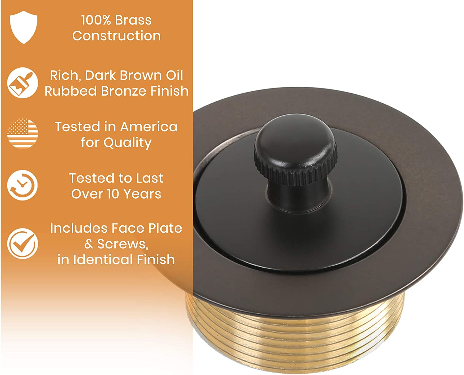 100% Brass Lift and Turn Bathtub Drain - Oil Rubbed Bronze Finish - Bathtub Conversion Kit - Handyman Designed & Quality Tested - Will Fit All Bathtub Drains