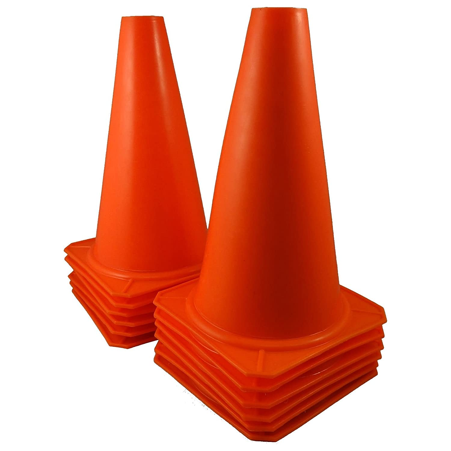 """9/"""" Tall ORANGE CONES Sports Training Safety Cone Qty 12"""