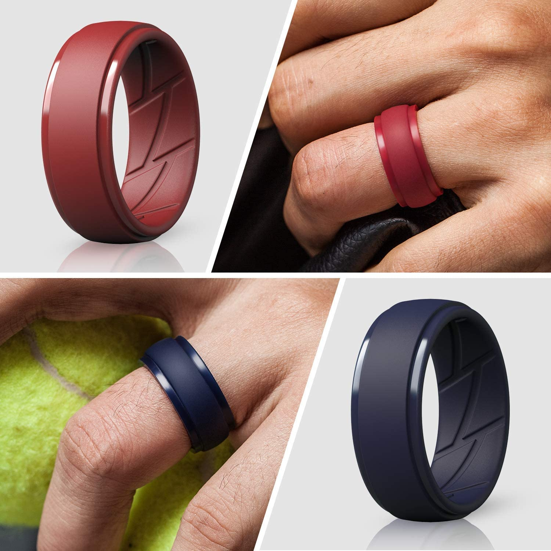 Black, Dark Grey, Navy Blue, Dark Red, 5.5-6 16.5mm 4 Rings ThunderFit Silicone Wedding Rings for Men
