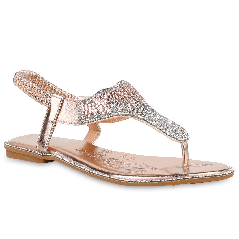 Stiefelparadies Damen Sandalen Zehentrenner mit Blockabsatz Flandell  38 EU|Rose Gold Strass