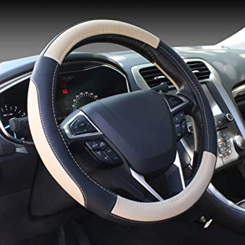 SEG Direct Microfiber Leather Beige Steering Wheel Cover Universally Fits 15 inches