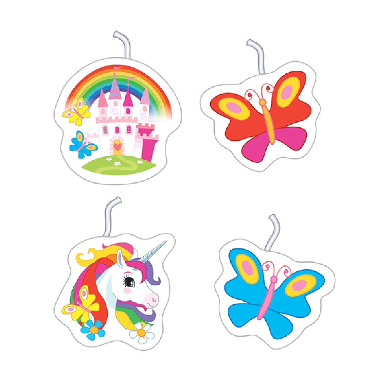 Rainbow Unicorn Candles 4pk