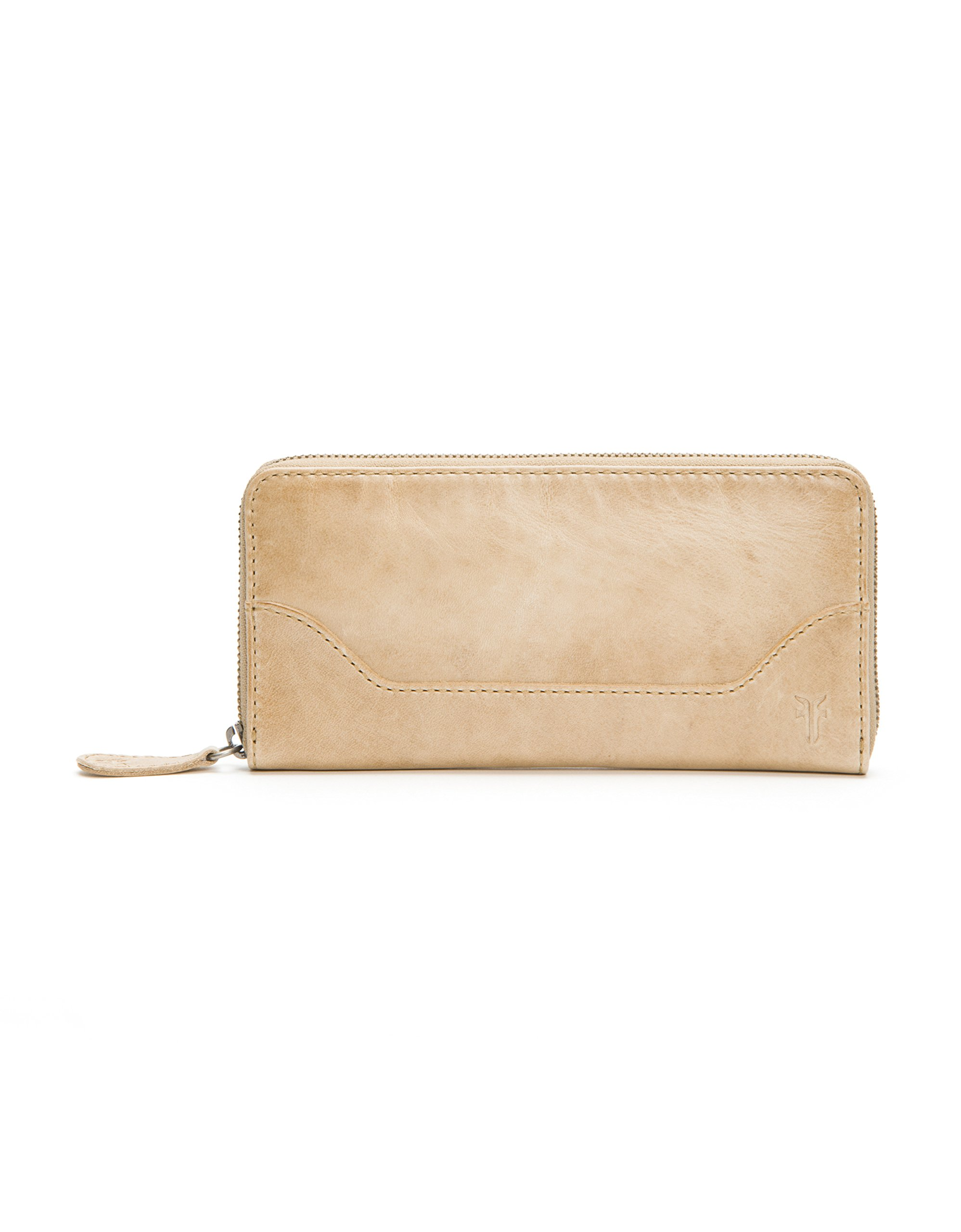 FRYE Women's Melissa Zip Around Leather Wallet, Sand, One Size