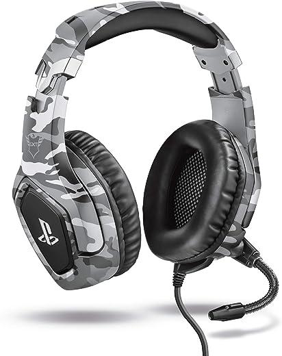 Trust Gaming GXT 488 Forze-G Cuffie PS4 e PS5 con Licenza Ufficiale PlayStation, Microfono Ripiegabile e Archetto Regolabile, Grigio