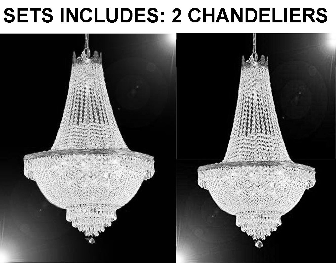 """Set of 2 - 1 French Empire Crystal Chandelier Lighting - Great for the Dining Room! H30'' X W24"""" and 1 French Empire Crystal Chandelier Lighting - Great for the Dining Room! H50'' X W24"""""""