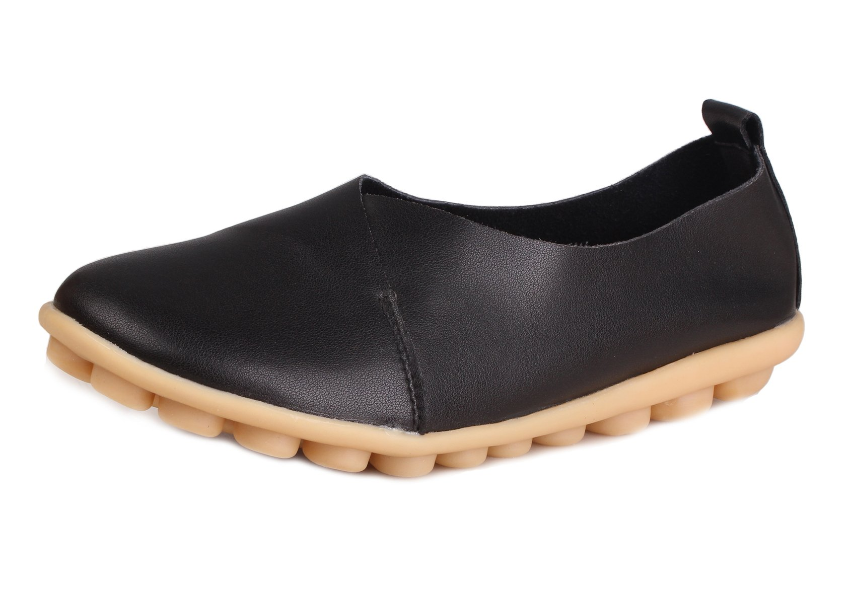 PhiFA Women's Leather Casual Loafers Flat Shoes (Buy One Size Down) Fashion Black Size 9