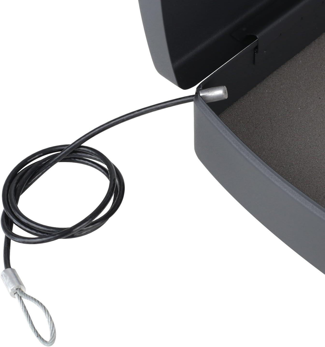 con filo corda HMF 1608-02 Cassaforte per documenti e denaro 33,0 x 23,6 x 8,8 cm Nero chiavistello elettronico
