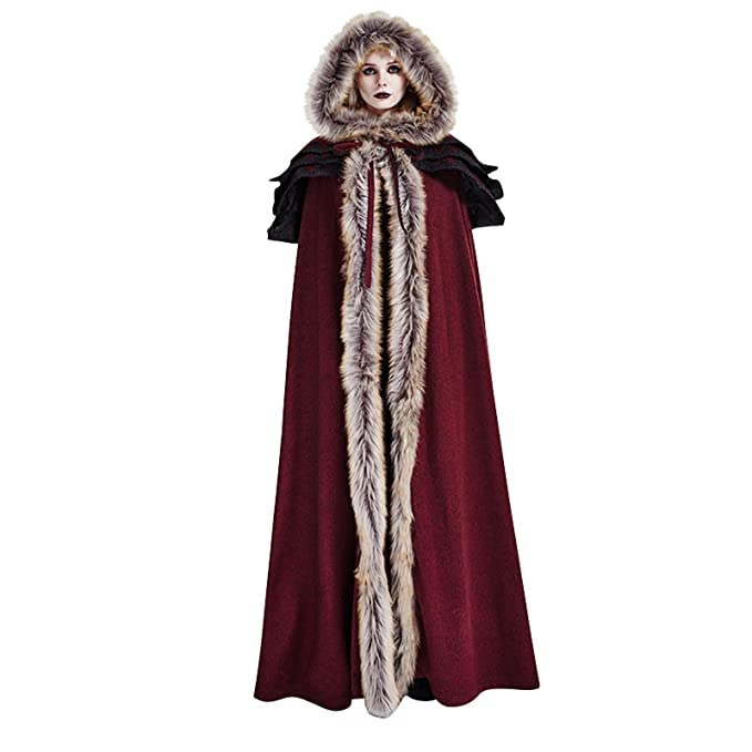 Amazon.com: Largo de la mujer con capucha capa, color rojo ...
