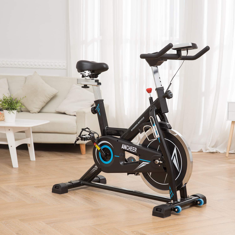 ANCHEER Indoor Cycling Bike, Belt Drive Indoor Exercise Bike with 49LBS Flywheel (Black) by ANCHEER (Image #2)