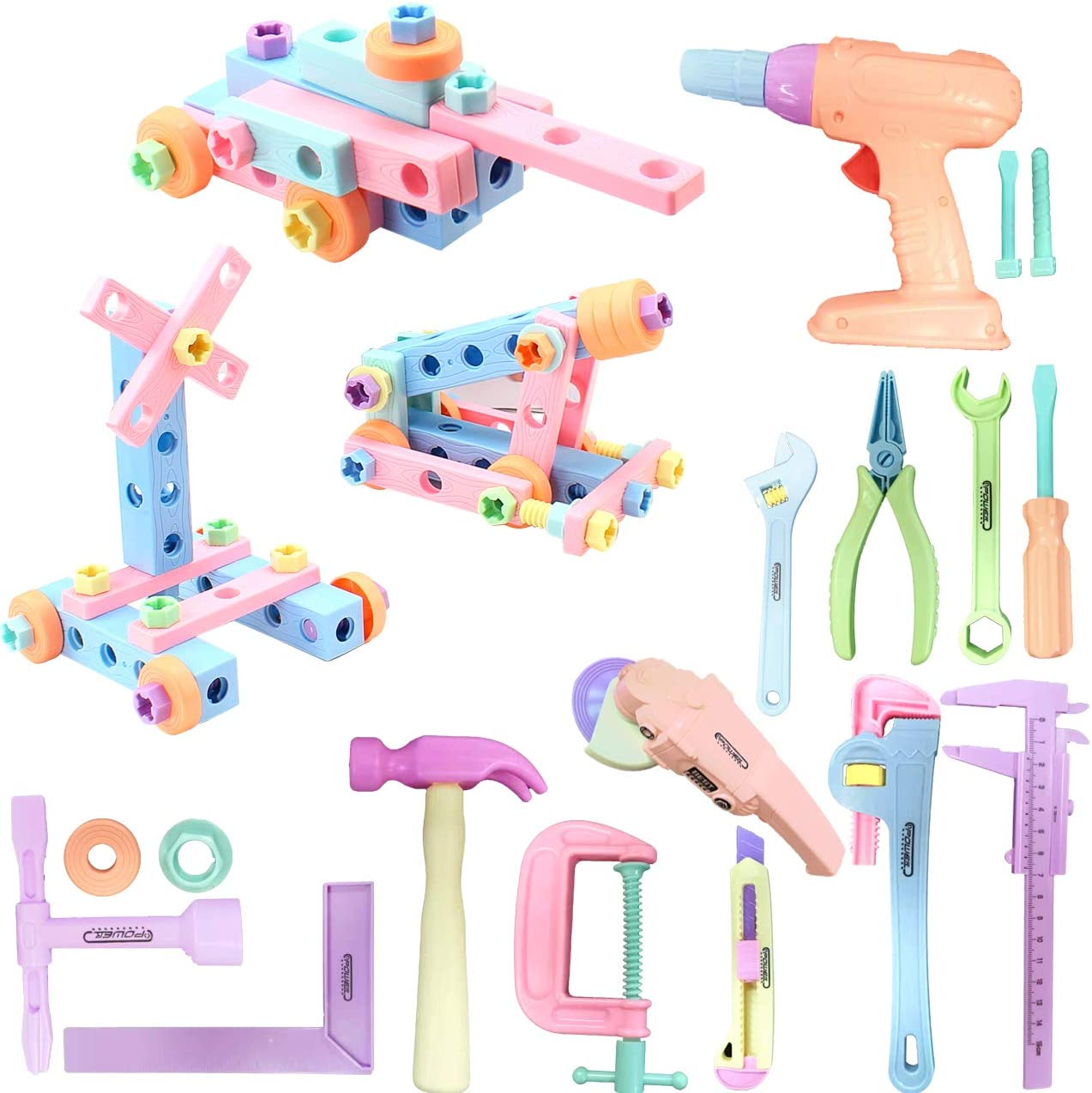 Gifts2U Kids Toy Tool Set 84pcs Realistic Kids Construction Toy Include Drill, Sander Toy, Handsaw and Screw Toy Spliced into Tank Construction Cars STEM Tool Set for Kids Boys Girls (Pink)
