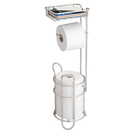 mDesign Portarrollos de papel higiénico con estante – Elegante dispensador de papel higiénico de metal –