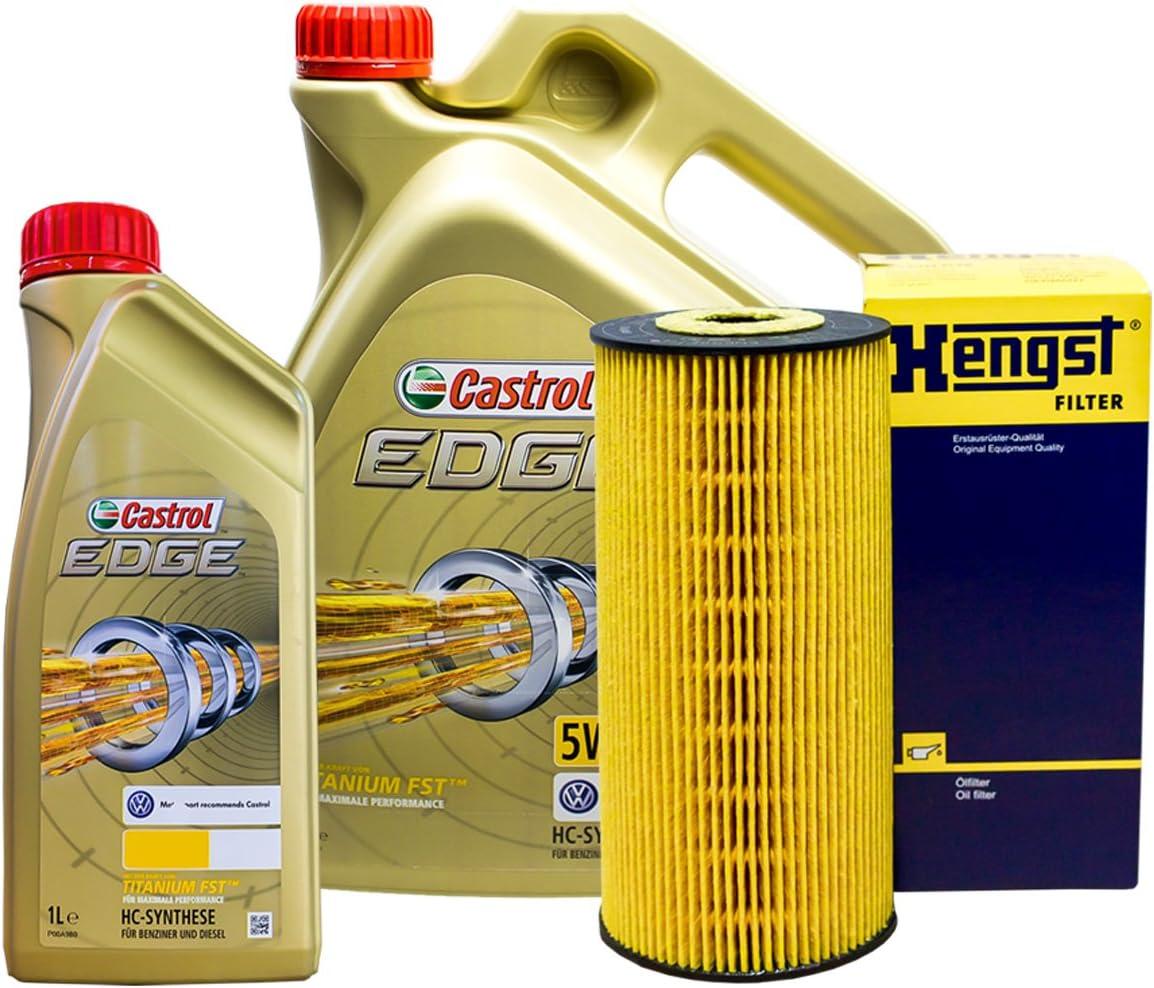 Set 6L de aceite Castrol 5 W de 30 + caballo semental de aceite para Audi A4 8D5 B5 2.5 TDI: Amazon.es: Coche y moto