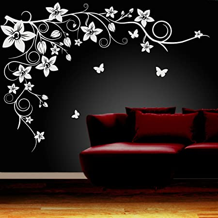 Butterfly vine flower wall art stickers vinyl decals best quality 0001