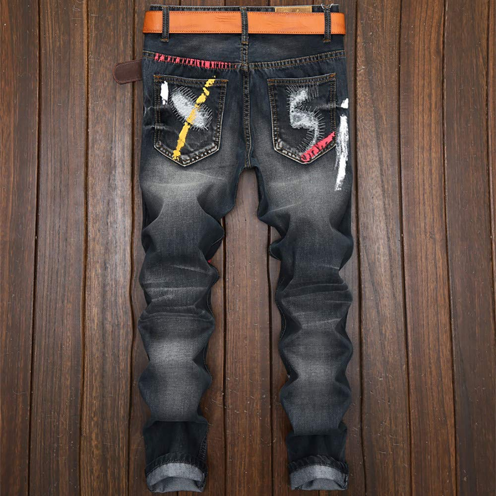 Overmal Mens Vintage Hole Jeans Denim Folds Wash Work Frayed Printed Zipper Basic Pants