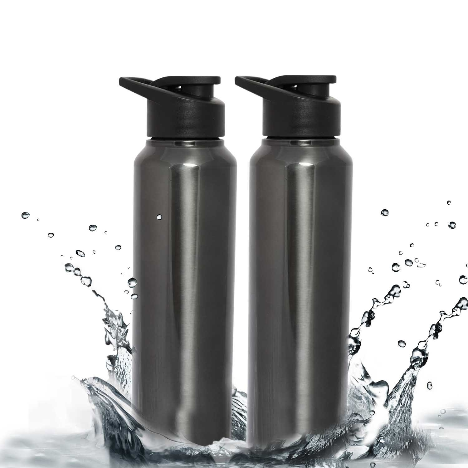 985ad1093a Buy Zafos Stainless Steel Water Bottle Set, 1 Litre, Set of 2, Glossy Black  (GlossyChromoBlack-1LSetof2) Online at Low Prices in India - Amazon.in