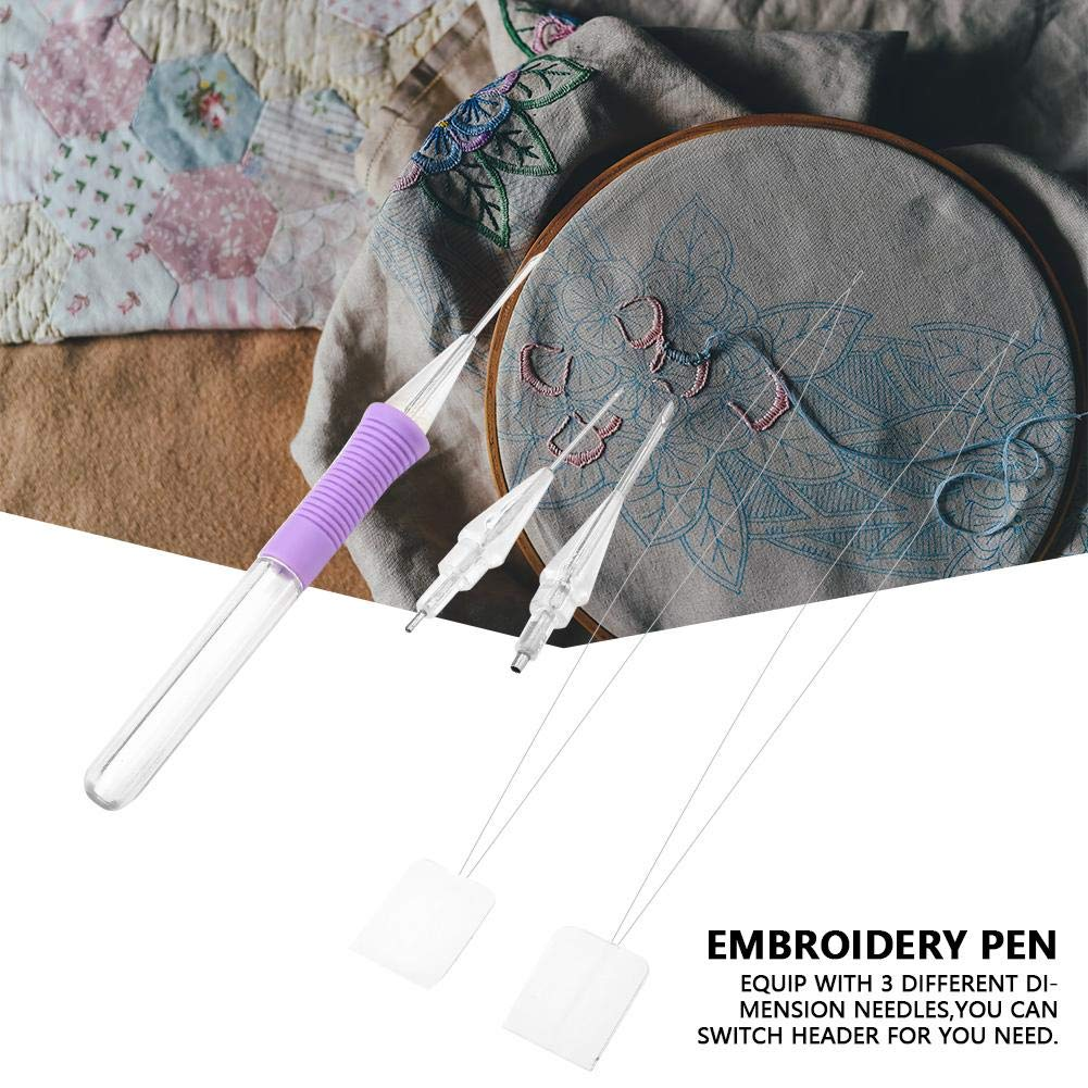 Magic Embroidery Pen Punch Needles Russian Embroidery Pen Set Sewing Knitting DIY Craft Tool