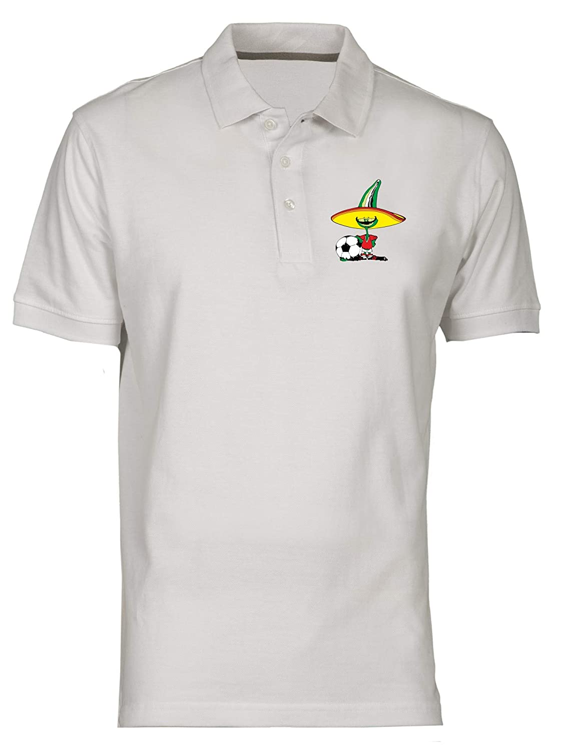 Polo por Hombre Blanco TM0225 Pique Mexico 86 Flag: Amazon.es ...