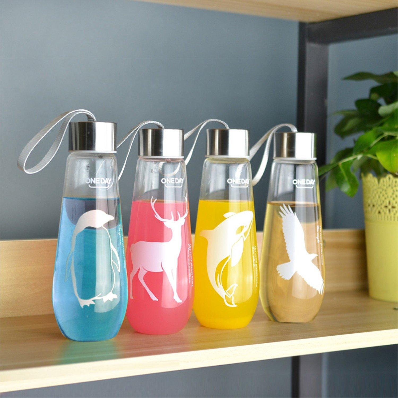 480ML Sweet Water Bottle With Bag Leak Proof Glass Water Bottle Drinkware Transparent Water Bottles Cute Anima Sports Fruit Tumbler Tool