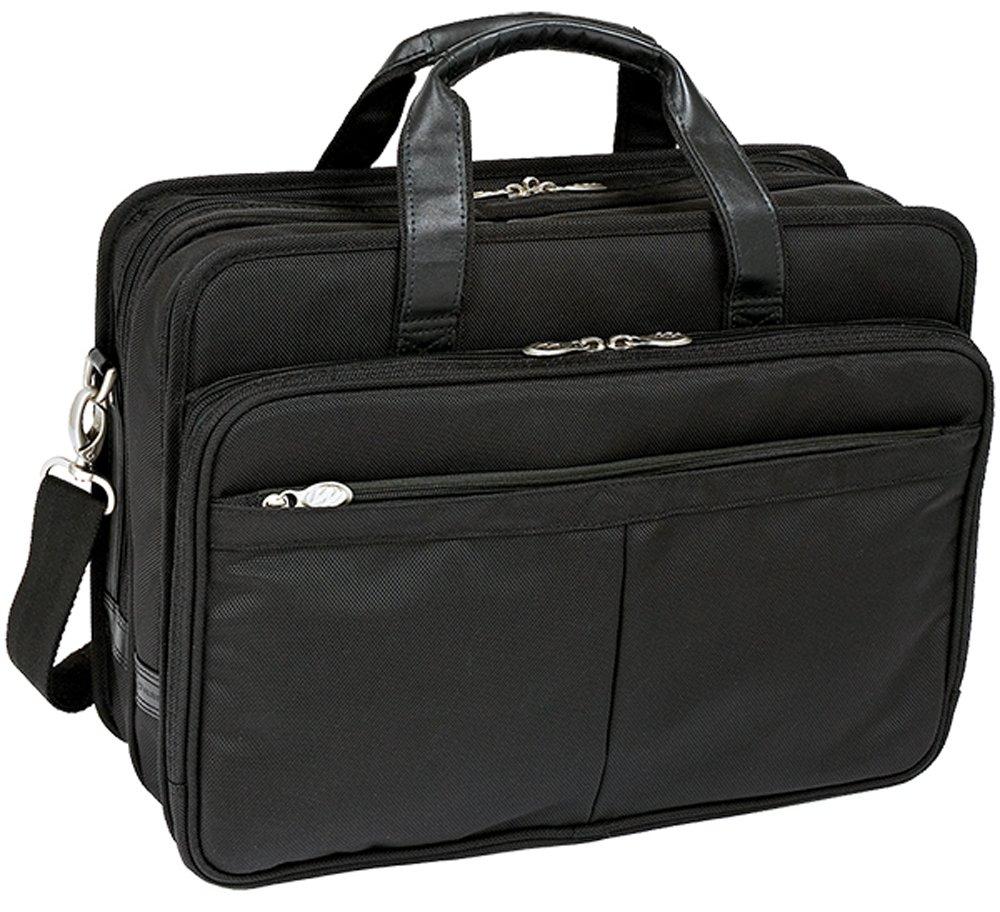 McKleinUSA WALTON 73985 Black Expandable Double Compartment Laptop Case w/ Removable Sleeve