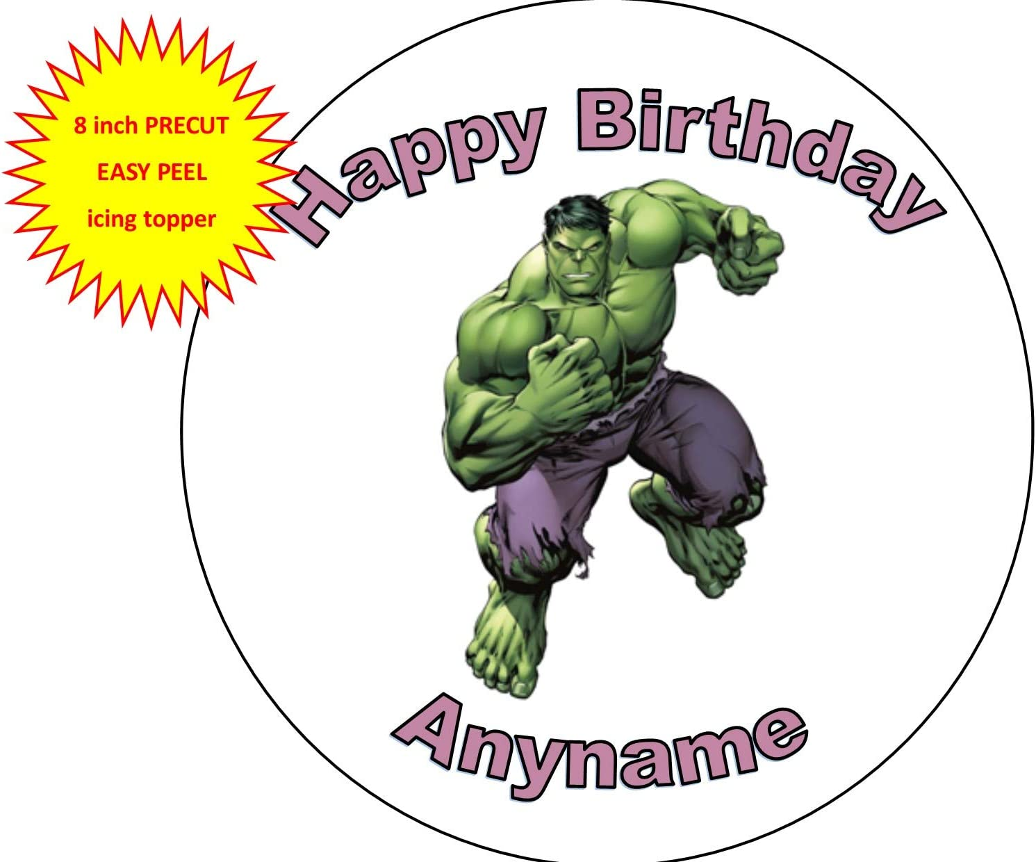 HULK BIRTHDAY CAKE TOPPER PERSONALISED EDIBLE Up To 7.5Inches