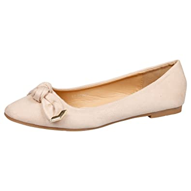 da44ef52d5 Feet First Fashion Araminta Womens Flat Slip On Bow Det Beige Faux Suede 4  UK/