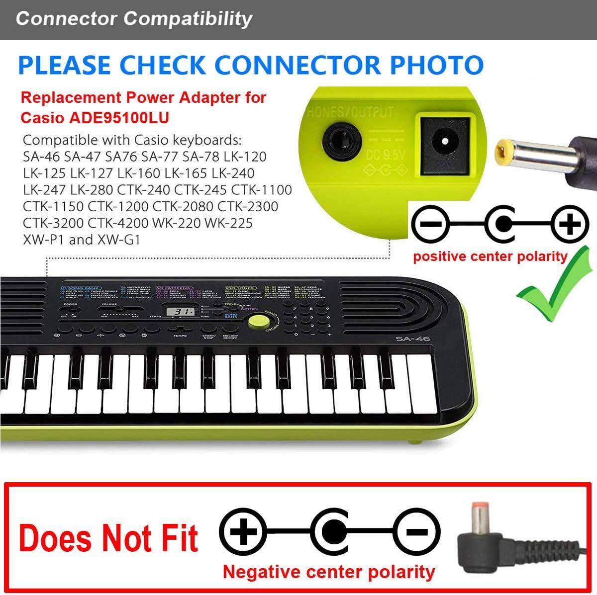 T POWER 9 V (6.6 ft cable largo) AC DC adaptador para Casio ade95 AD-E95100L ade95100l Cable de conmutación Fuente de alimentación de repuesto de ...
