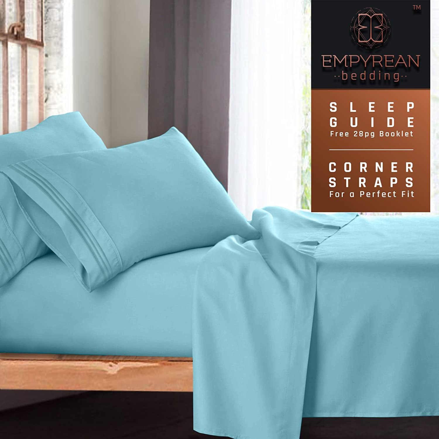 Queen Size Bed Sheets Set, Light Blue Aqua - Soft Luxury Best Quality 4-Piece Bed Set