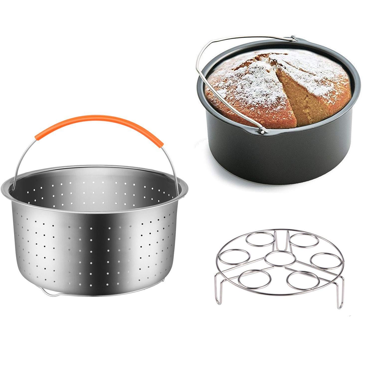 Set of 3 Instant Pot Accessories 6&8 Quart Steamer Basket, Fits Instant Pot Pressure Cooker Instant Pot DUO60, Great for Steaming Vegetables Fruits Eggs and Soup Food